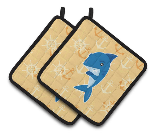 Buy this Shark on Beige Nautical Pair of Pot Holders BB6946PTHD