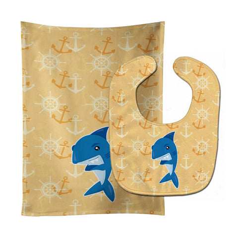 Buy this Shark on Beige Nautical Baby Bib & Burp Cloth BB6946STBU