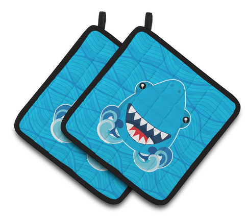 Buy this Shark Open Wide in Waves Pair of Pot Holders BB6947PTHD