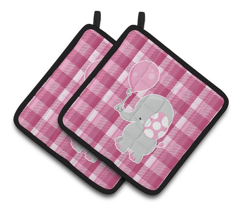 Buy this Elephant with Pink Balloon Pair of Pot Holders BB6948PTHD