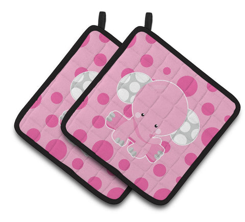 Buy this Elephant with Pink Polkadots Pair of Pot Holders BB6949PTHD