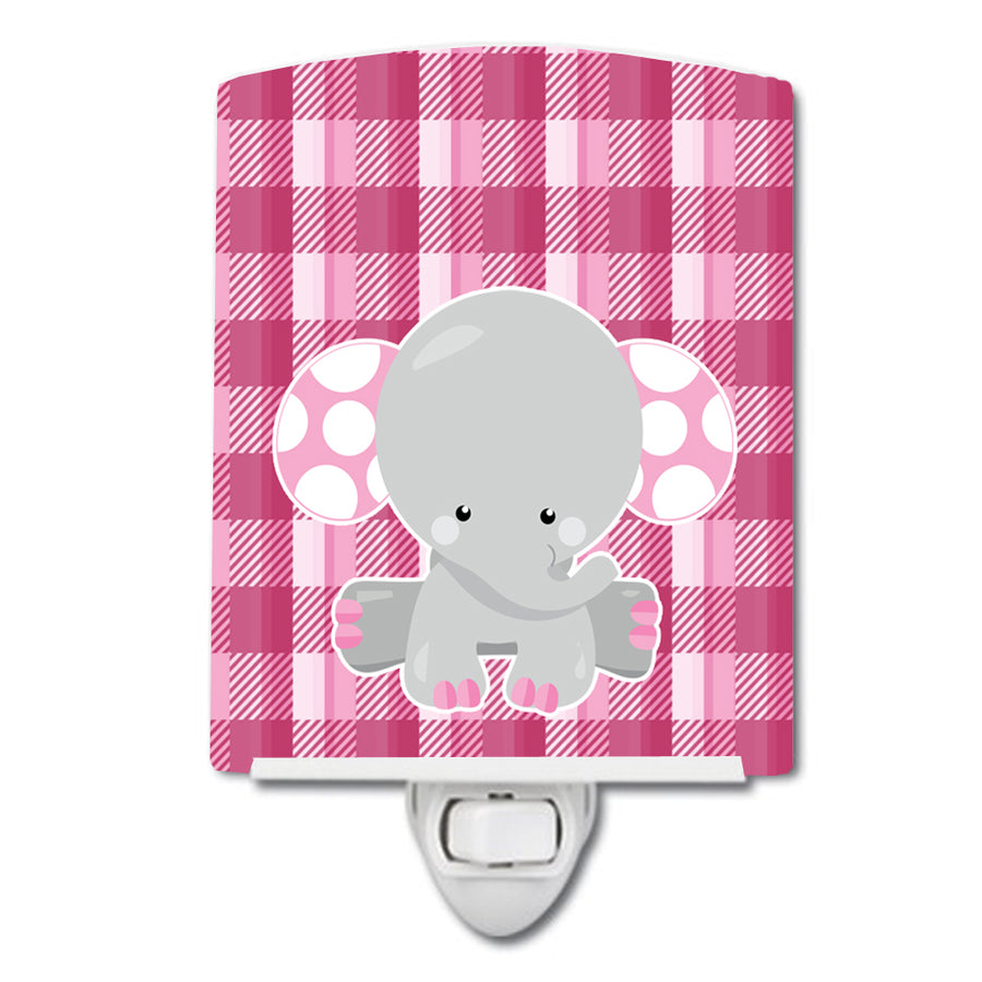 Buy this Elephant Pink Gingham Ceramic Night Light BB6952CNL