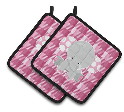 Buy this Elephant Pink Gingham Pair of Pot Holders BB6952PTHD