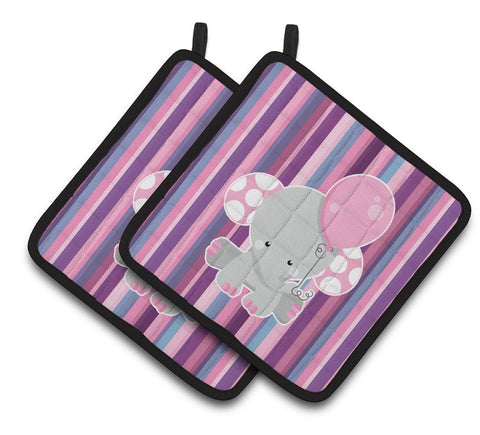 Buy this Elephant on Stripes Pair of Pot Holders BB6954PTHD