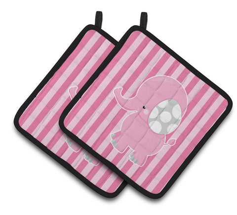 Buy this Elephant on Pink Stripes Pair of Pot Holders BB6955PTHD