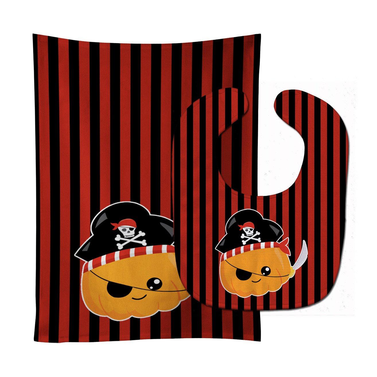 Halloween Pumpkin Pirate Baby Bib & Burp Cloth BB6962STBU by Caroline's Treasures
