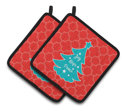 Buy this Christmas Tree Red Teal Pair of Pot Holders BB6969PTHD