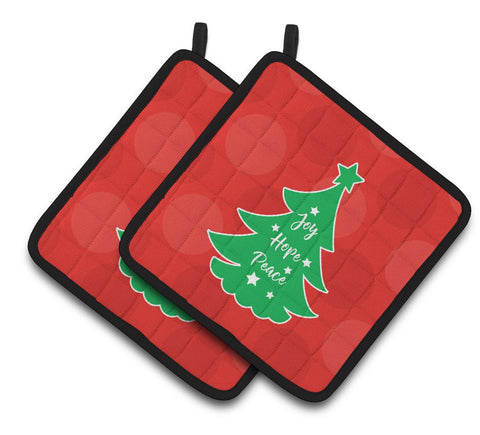 Buy this Christmas Tree Red Green Pair of Pot Holders BB6971PTHD