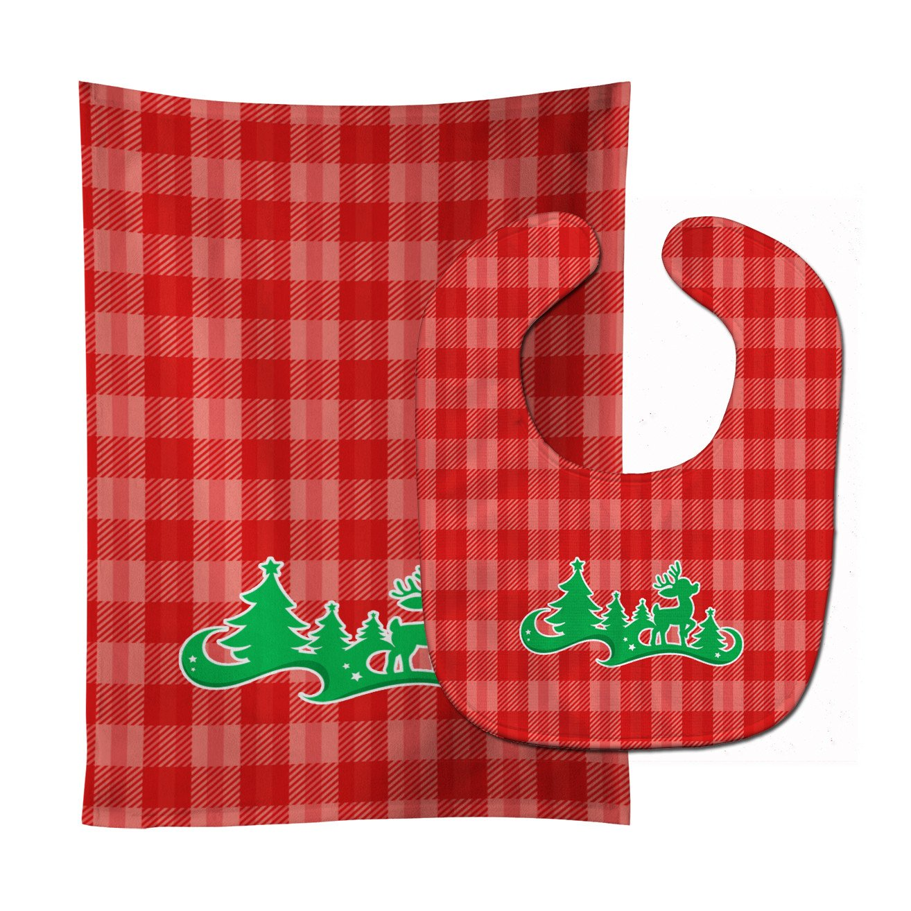 Buy this Christmas Tree Reindeer Red Baby Bib & Burp Cloth BB6972STBU
