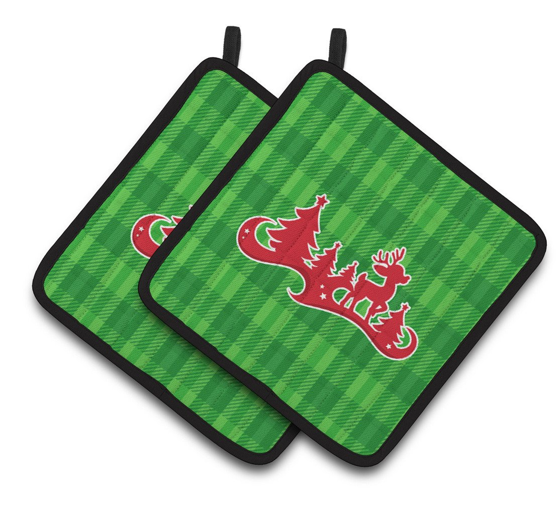 Buy this Christmas Tree Reindeer Green Pair of Pot Holders BB6973PTHD