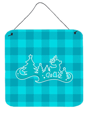 Buy this Christmas Tree Reindeer Blue Wall or Door Hanging Prints BB6974DS66