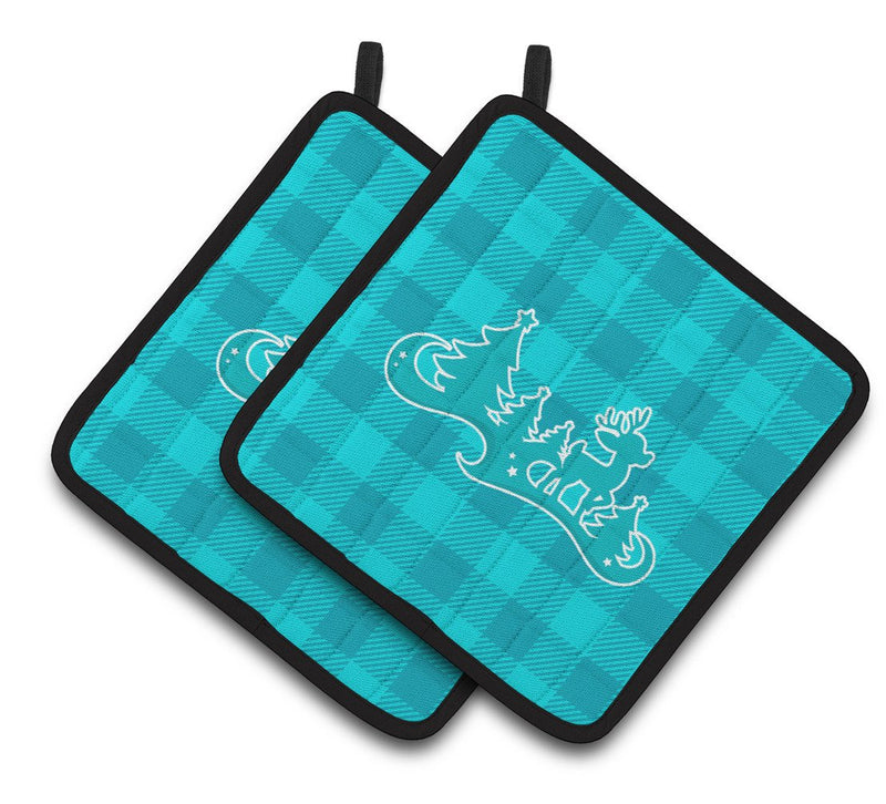 Buy this Christmas Tree Reindeer Blue Pair of Pot Holders BB6974PTHD
