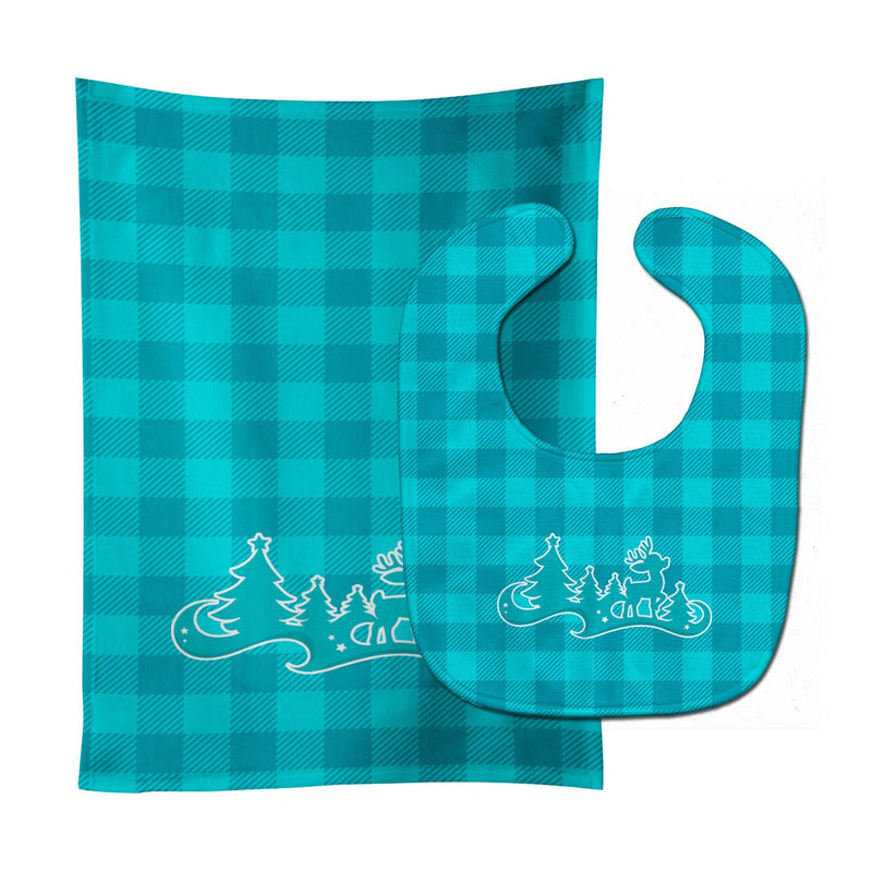 Buy this Christmas Tree Reindeer Blue Baby Bib & Burp Cloth BB6974STBU