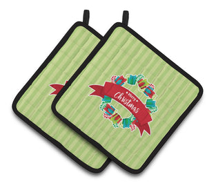 Buy this Christmas Wreath Presents Green Pair of Pot Holders