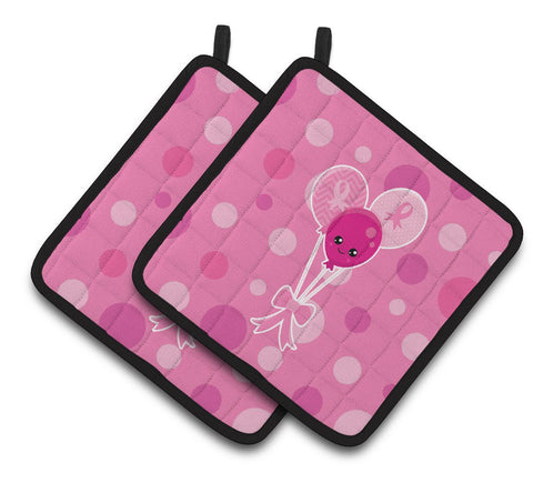 Buy this Breast Cancer Awareness Ribbon Balloons Pair of Pot Holders BB6979PTHD