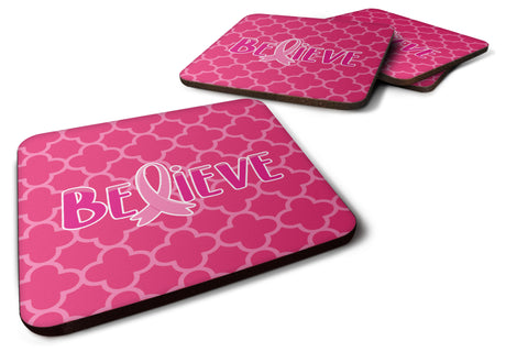 Buy this Breast Cancer Awareness Ribbon Believe Foam Coaster Set of 4 BB6980FC