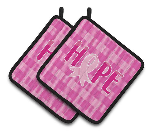 Buy this Breast Cancer Awareness Ribbon Hope Pair of Pot Holders BB6981PTHD