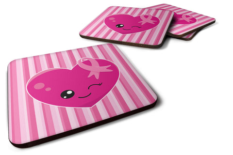 Buy this Breast Cancer Awareness Ribbon Heart Foam Coaster Set of 4 BB6982FC