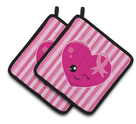 Buy this Breast Cancer Awareness Ribbon Heart Pair of Pot Holders BB6982PTHD