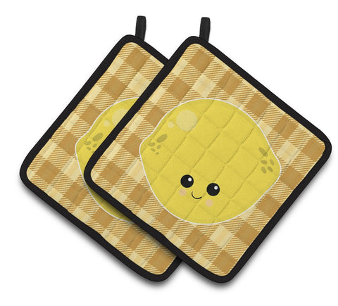 Buy this Lemon Face Pair of Pot Holders BB6990PTHD