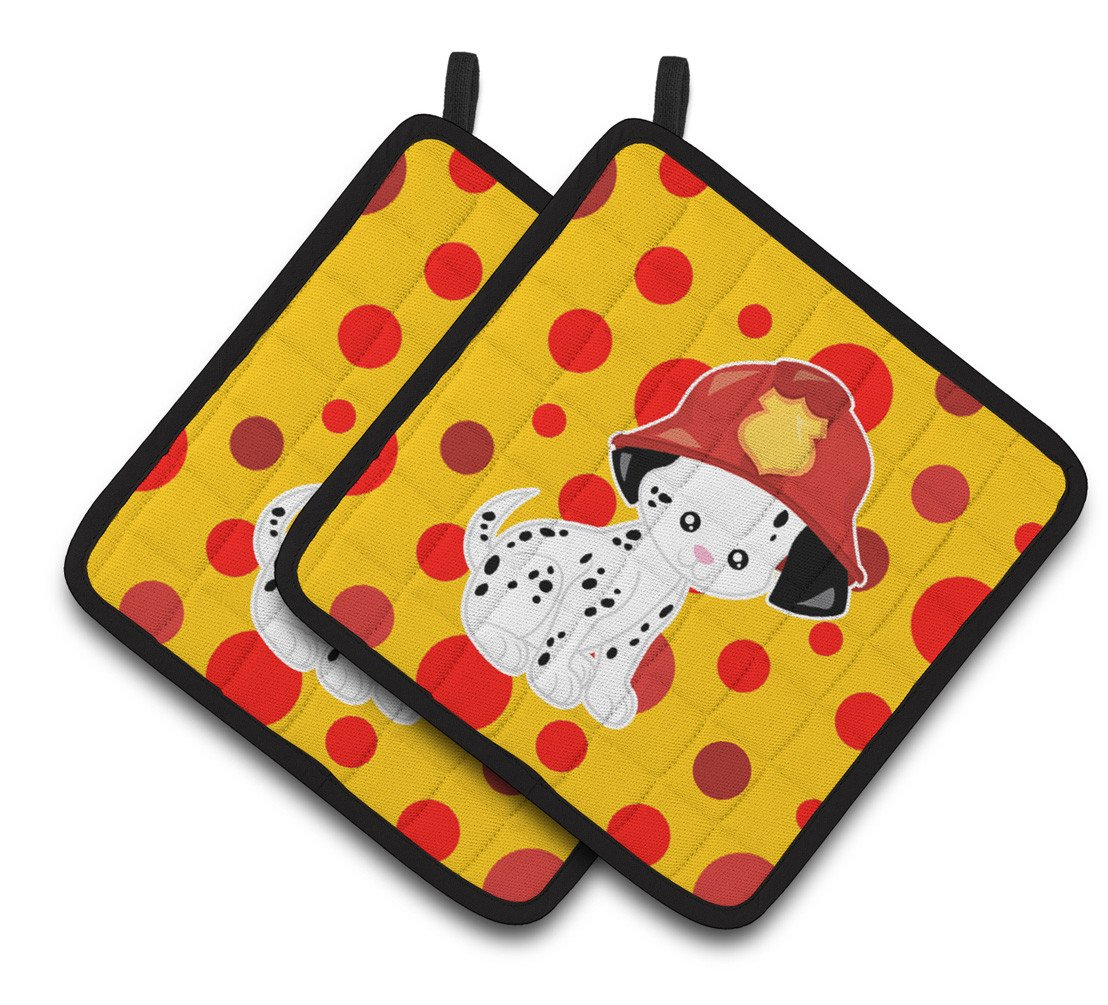 Fireman Dalmatian Puppy Pair of Pot Holders BB6999PTHD by Caroline's Treasures