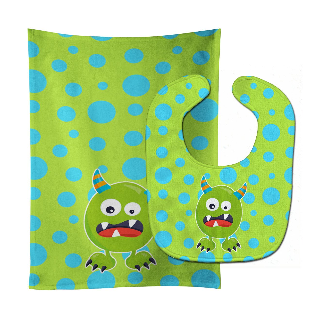 Little Monster Greenie Doodle Baby Bib & Burp Cloth BB7003STBU by Caroline's Treasures
