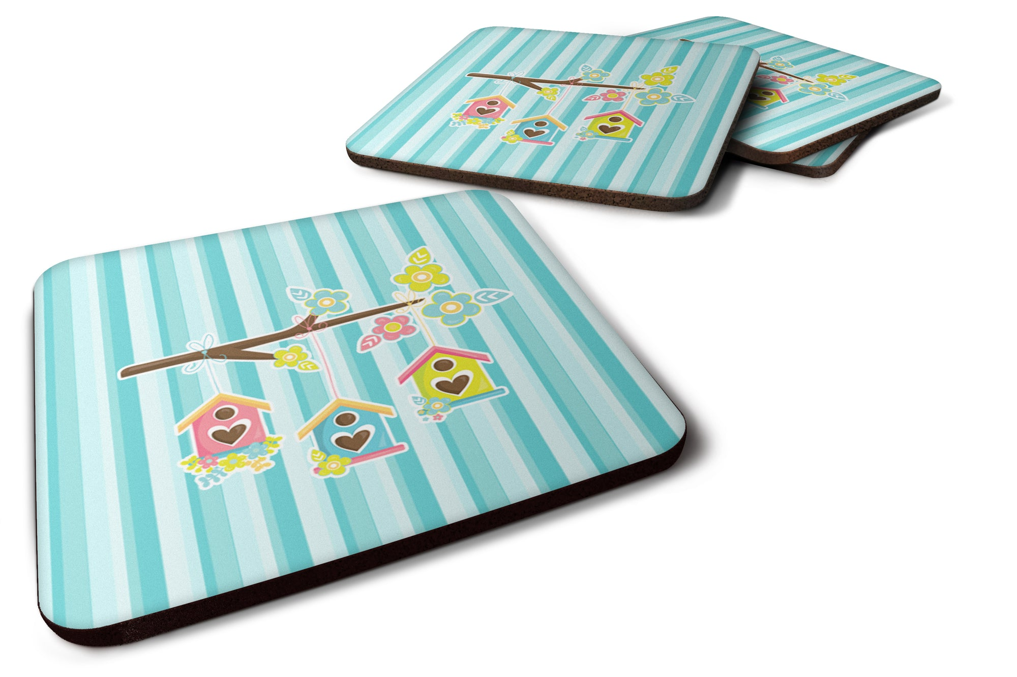 Buy this Birdhouses on Blue Stripes Foam Coaster Set of 4 BB7011FC