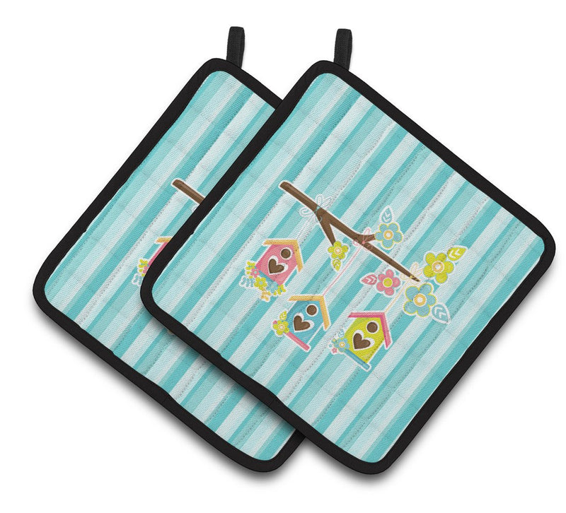Buy this Birdhouses on Blue Stripes Pair of Pot Holders BB7011PTHD