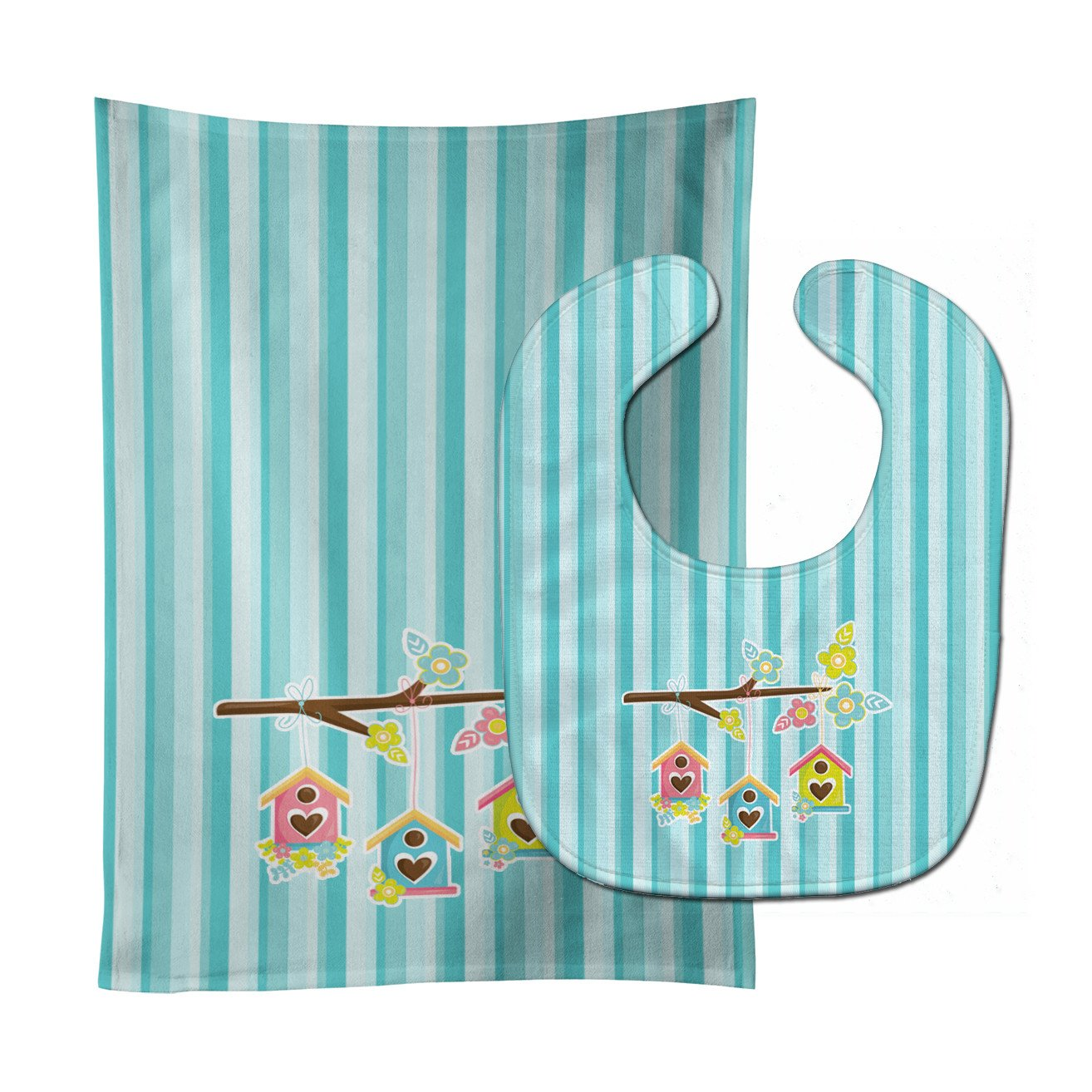 Buy this Birdhouses on Blue Stripes Baby Bib & Burp Cloth BB7011STBU