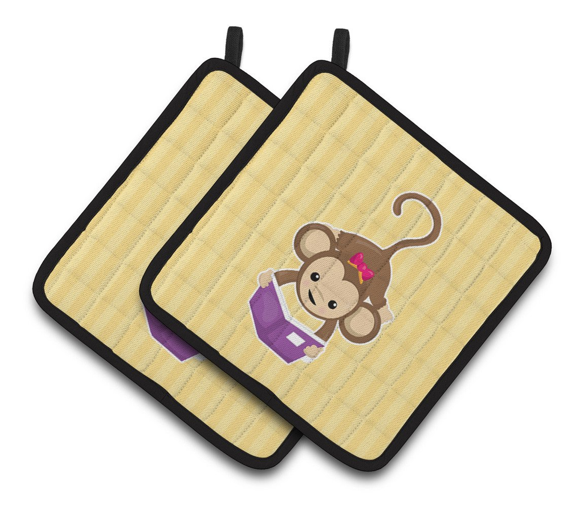 Monkey Reading Pair of Pot Holders BB7015PTHD by Caroline's Treasures