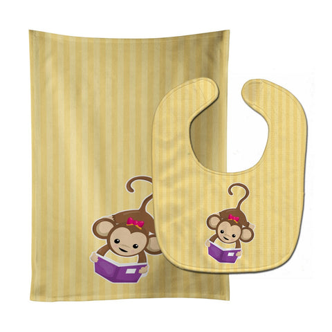 Buy this Monkey Reading Baby Bib & Burp Cloth BB7015STBU