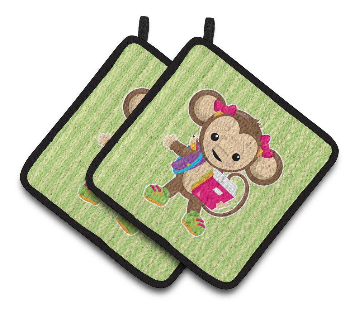 Monkey Going to School Pair of Pot Holders BB7016PTHD by Caroline's Treasures
