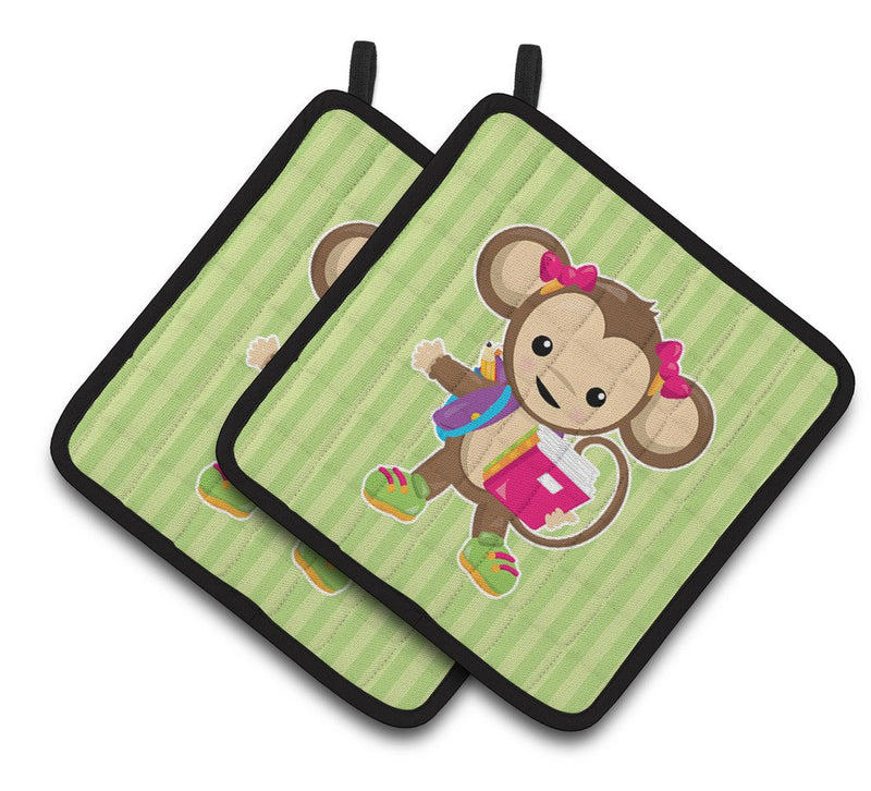 Buy this Monkey Going to School Pair of Pot Holders BB7016PTHD