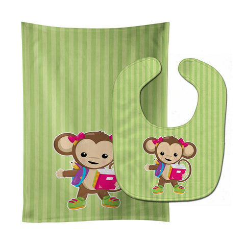 Buy this Monkey Going to School Baby Bib & Burp Cloth BB7016STBU