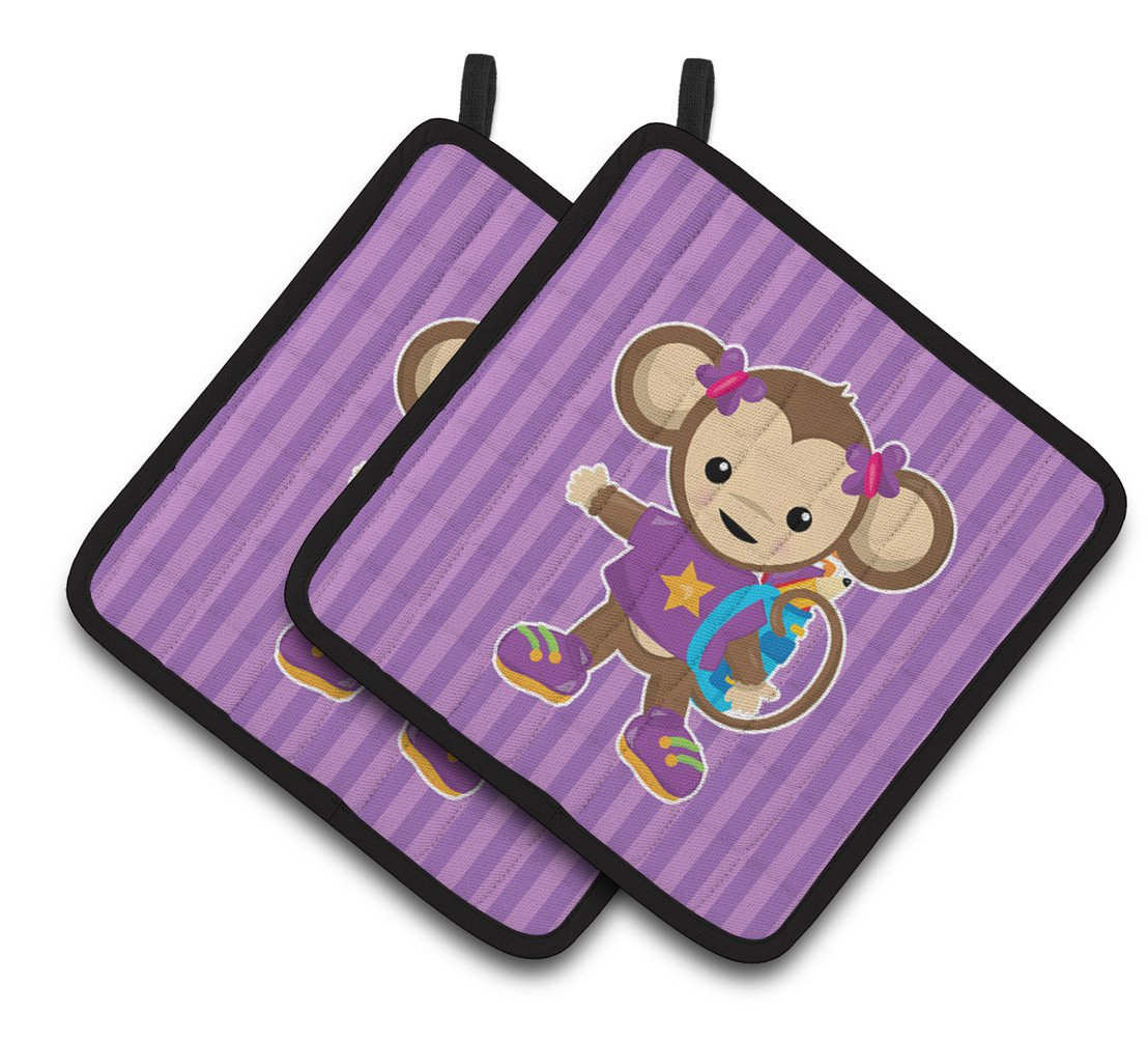 Monkey with Backpack Pair of Pot Holders BB7017PTHD by Caroline's Treasures
