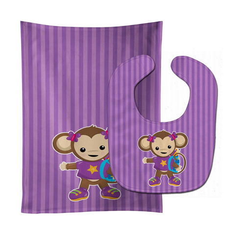 Buy this Monkey with Backpack Baby Bib & Burp Cloth BB7017STBU