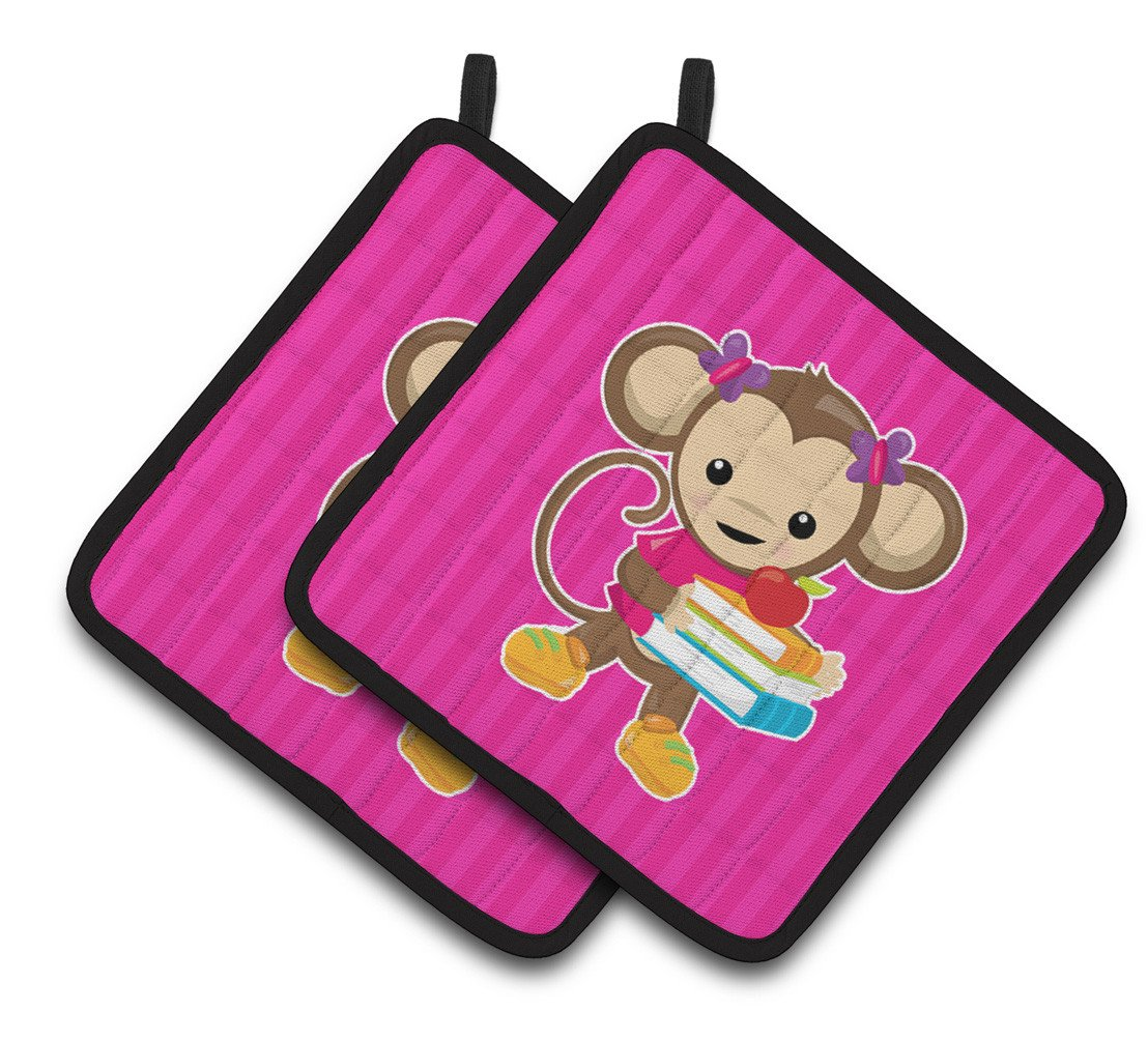 Monkey and School books Pair of Pot Holders BB7018PTHD by Caroline's Treasures