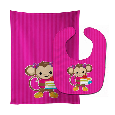 Buy this Monkey and School books Baby Bib & Burp Cloth BB7018STBU