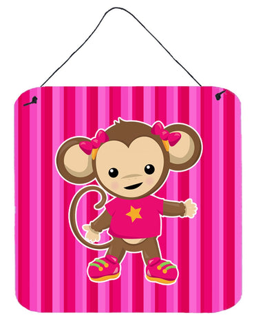 Buy this Monkey on Pink Stripes Wall or Door Hanging Prints BB7020DS66