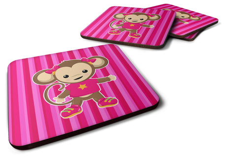 Buy this Monkey on Pink Stripes Foam Coaster Set of 4 BB7020FC