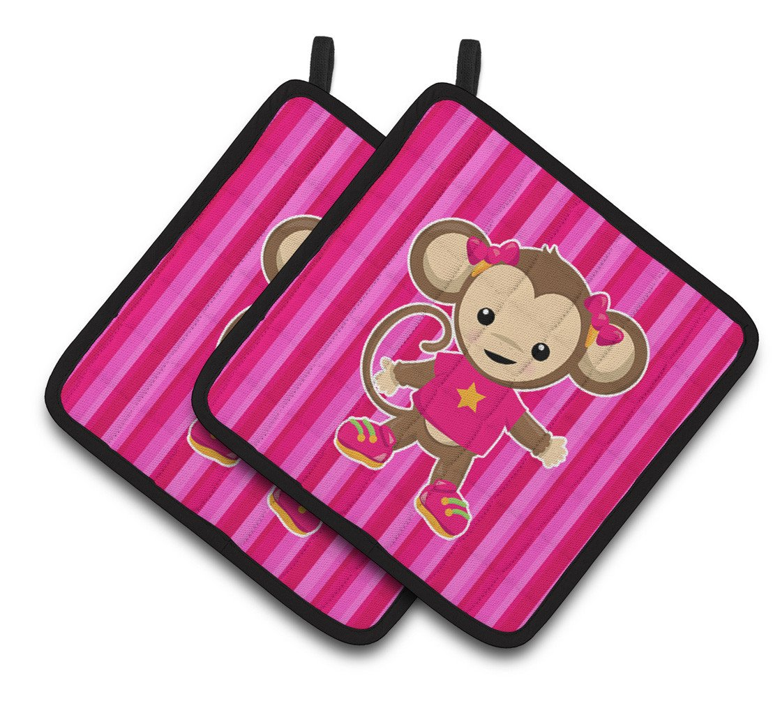Buy this Monkey on Pink Stripes Pair of Pot Holders BB7020PTHD