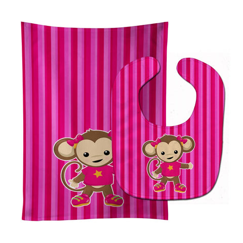 Buy this Monkey on Pink Stripes Baby Bib & Burp Cloth BB7020STBU