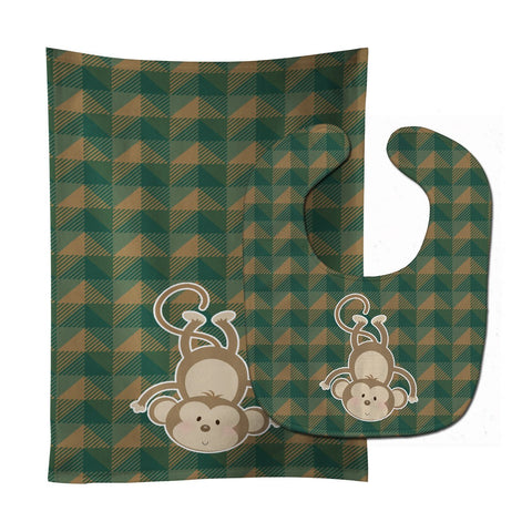 Buy this Monkey Baby Bib & Burp Cloth BB7023STBU