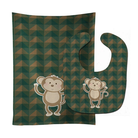 Buy this Monkey Baby Bib & Burp Cloth BB7025STBU