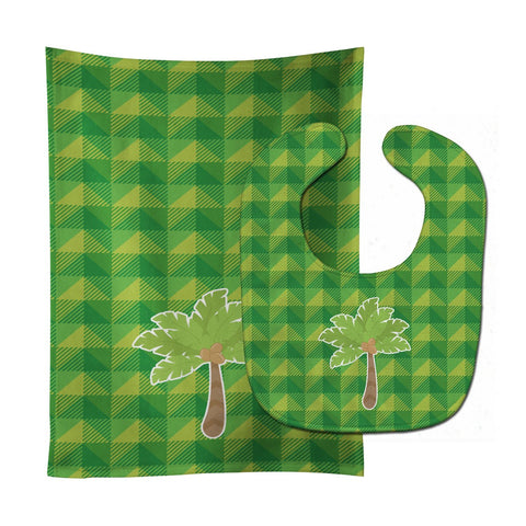 Buy this Palm Tree Baby Bib & Burp Cloth BB7027STBU