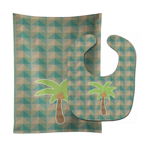Buy this Palm Tree Baby Bib & Burp Cloth BB7028STBU