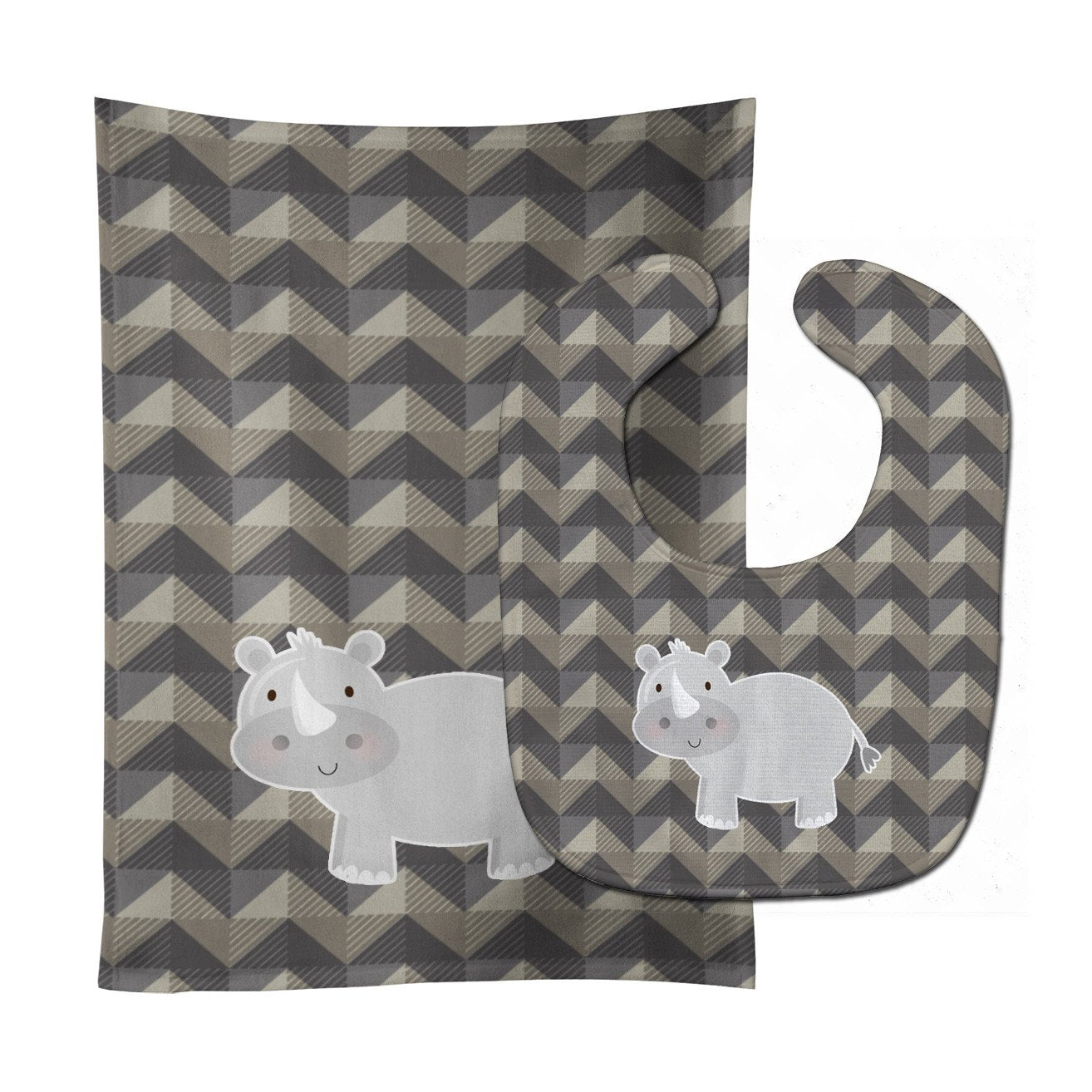 Rhinoceros Baby Bib & Burp Cloth BB7033STBU by Caroline's Treasures