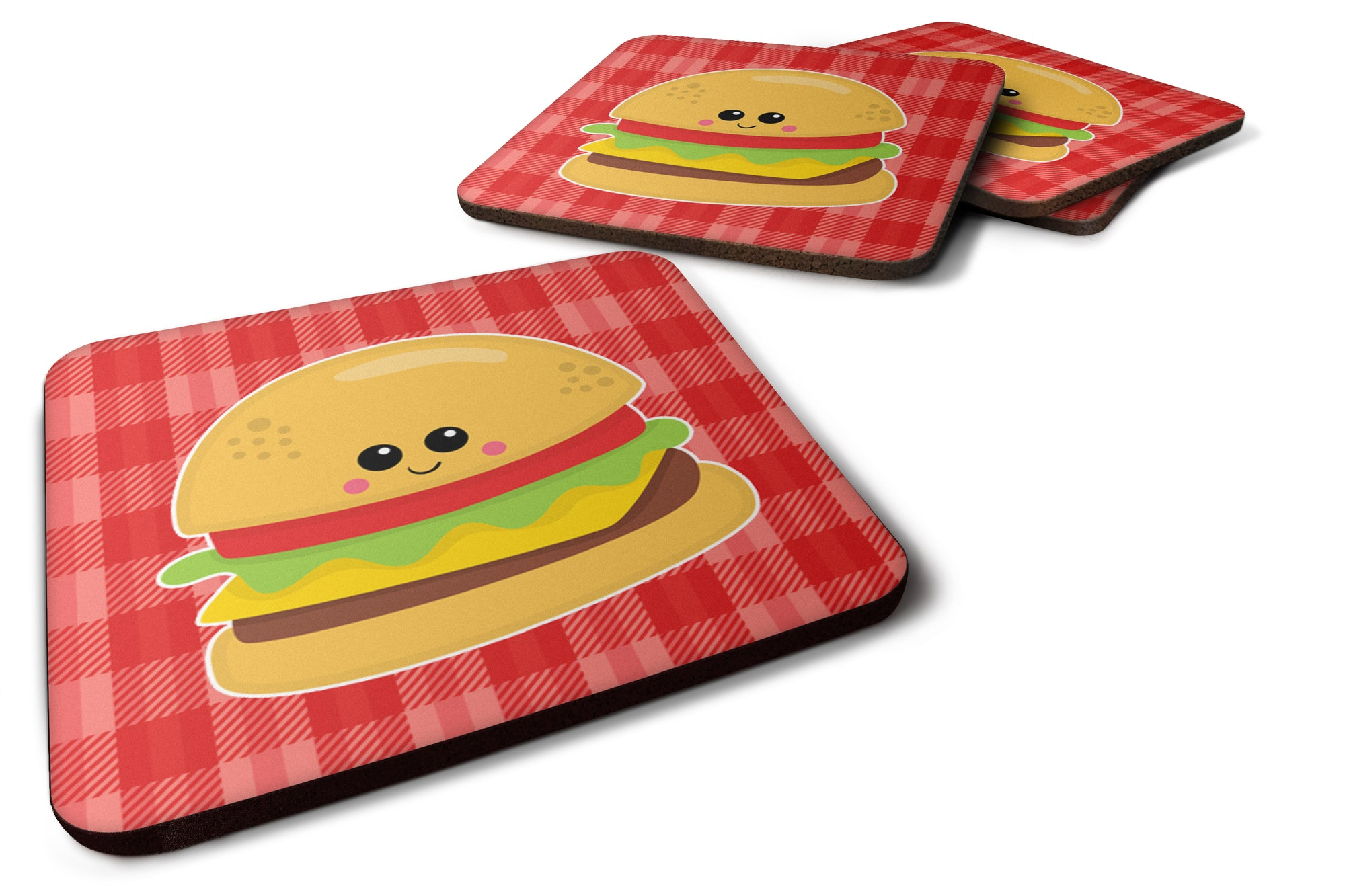 Hamburger Face Foam Coaster Set of 4 BB7042FC by Caroline's Treasures