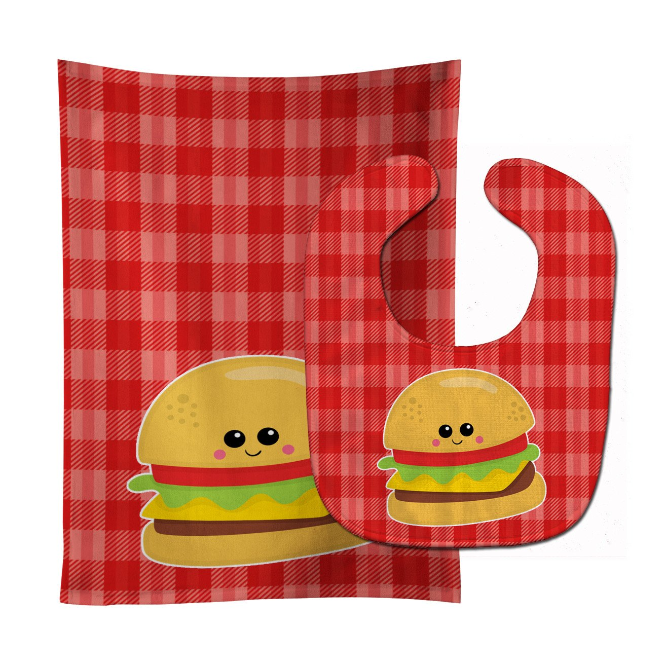 Hamburger Face Baby Bib & Burp Cloth BB7042STBU by