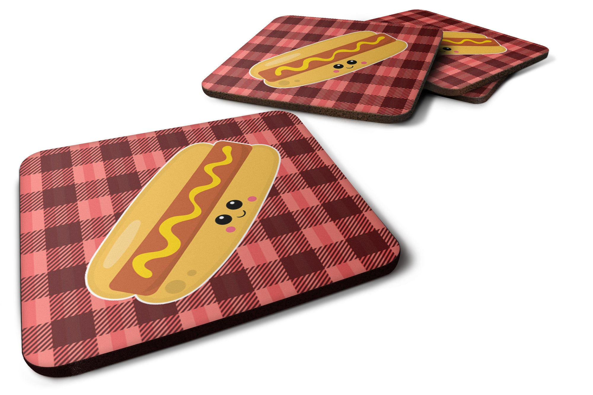 Hot Dog Face Foam Coaster Set of 4 BB7045FC by Caroline's Treasures
